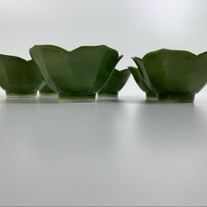 Set of Six Green and White Lotus Rice Bowls